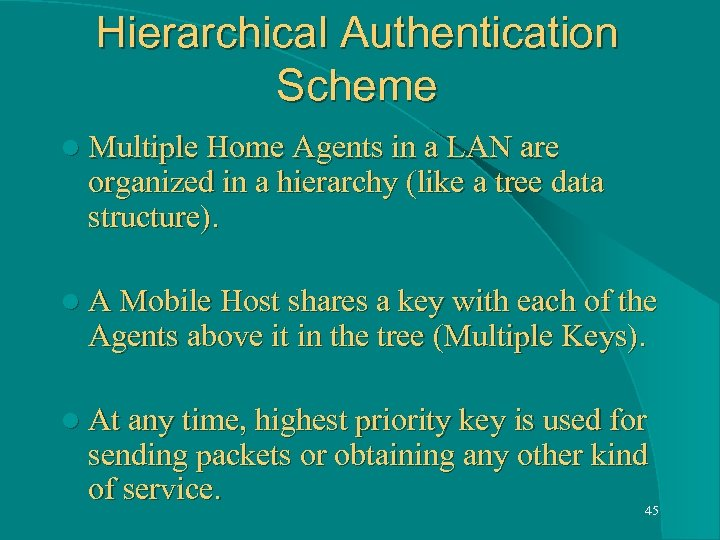 Hierarchical Authentication Scheme l Multiple Home Agents in a LAN are organized in a