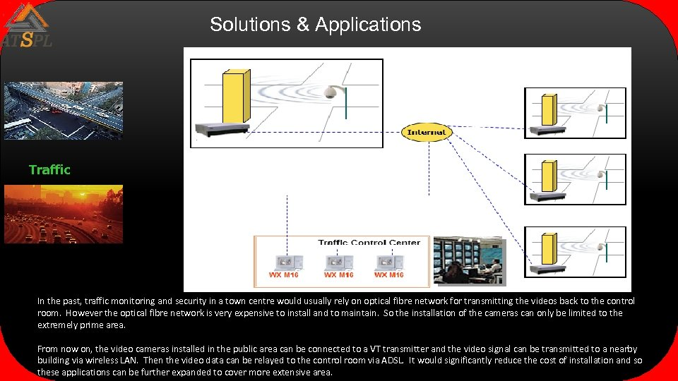 Solutions & Applications Traffic In the past, traffic monitoring and security in a town