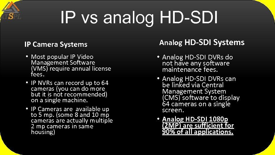 IP vs analog HD-SDI IP Camera Systems • Most popular IP Video Management Software