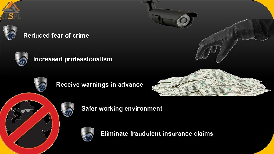 Reduced fear of crime Increased professionalism Receive warnings in advance Safer working environment Eliminate