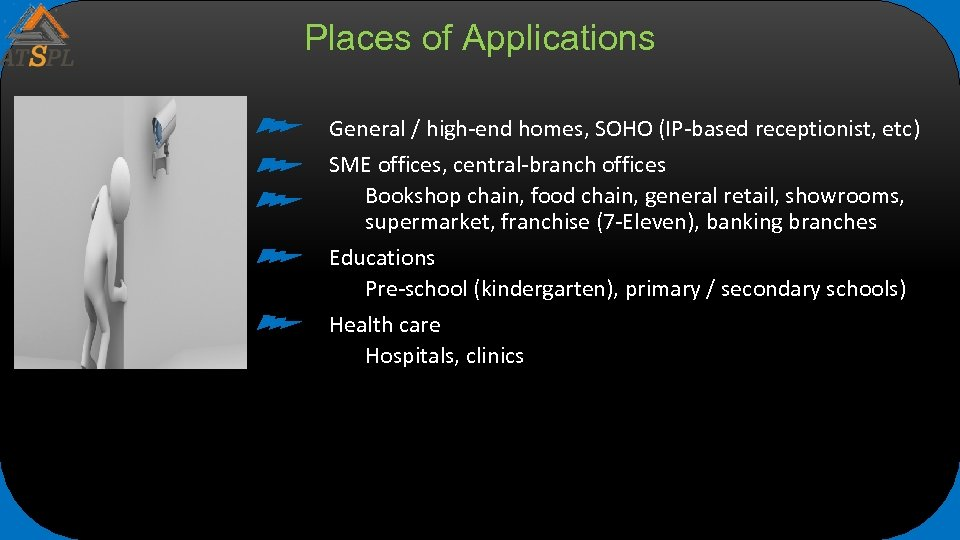 Places of Applications General / high-end homes, SOHO (IP-based receptionist, etc) SME offices, central-branch