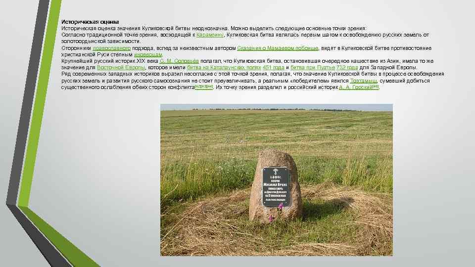 Историческая оценка значения Куликовской битвы неоднозначна. Можно выделить следующие основные точки зрения: Согласно традиционной
