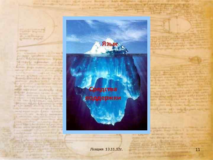 Язык Средства поддержки Лекция 13. 11. 12 г. 11