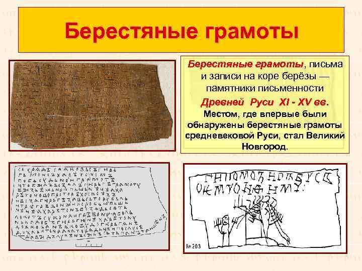 Берестяные грамоты, письма Берестяные грамоты и записи на коре берёзы — памятники письменности Древней