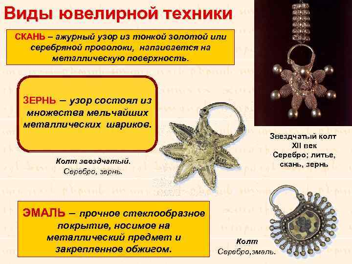 Виды ювелирной техники СКАНЬ – ажурный узор из тонкой золотой или СКАНЬ серебряной проволоки,