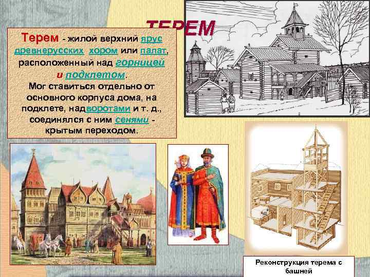 ТЕРЕМ Терем - жилой верхний ярус древнерусских хором или палат, расположенный над горницей и