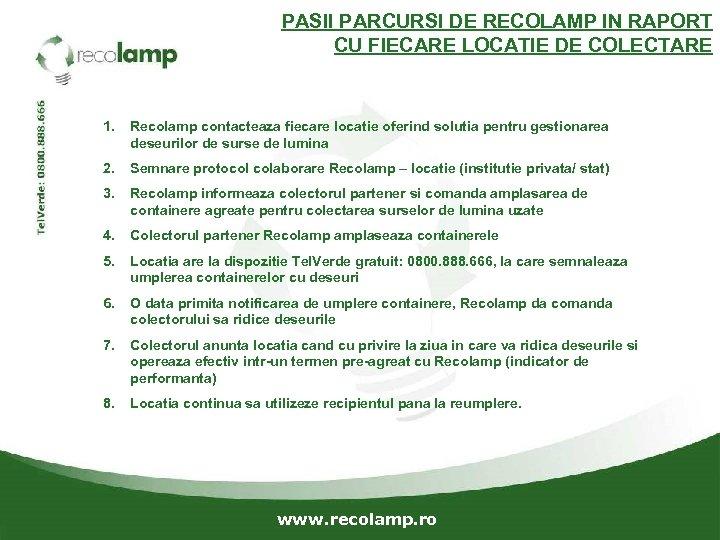 PASII PARCURSI DE RECOLAMP IN RAPORT CU FIECARE LOCATIE DE COLECTARE 1. Recolamp contacteaza