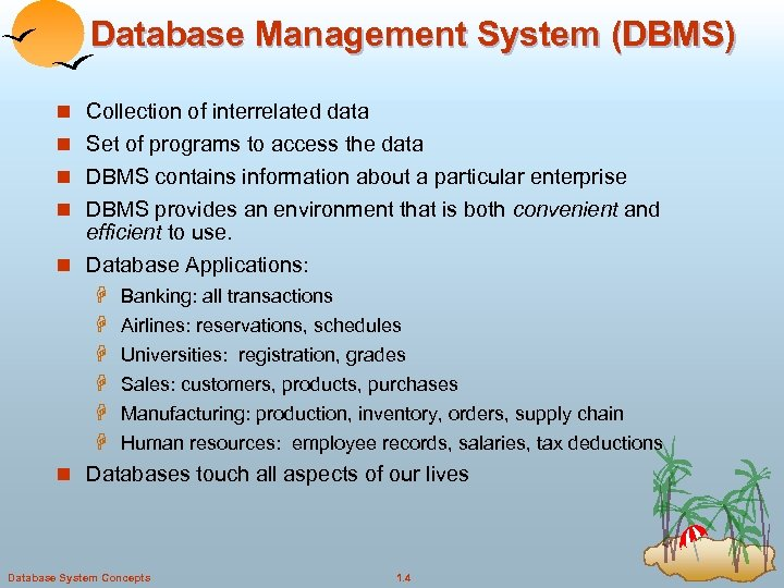 Database Management System (DBMS) n Collection of interrelated data n Set of programs to