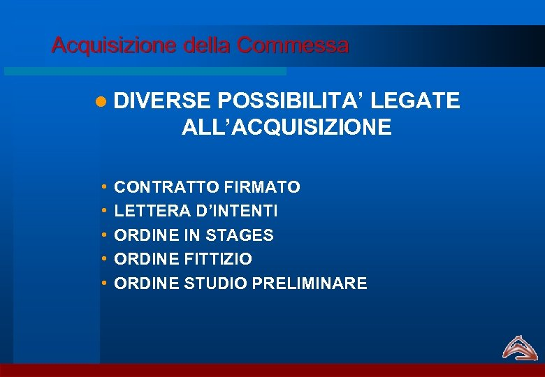 Acquisizione della Commessa l DIVERSE POSSIBILITA' LEGATE ALL'ACQUISIZIONE • • • CONTRATTO FIRMATO LETTERA