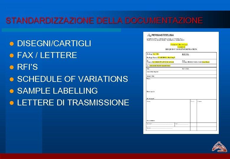 STANDARDIZZAZIONE DELLA DOCUMENTAZIONE l l l DISEGNI/CARTIGLI FAX / LETTERE RFI'S SCHEDULE OF VARIATIONS