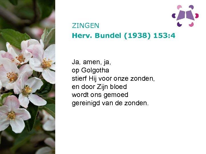 ZINGEN Herv. Bundel (1938) 153: 4 Ja, amen, ja, op Golgotha stierf Hij voor