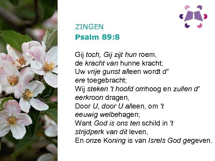 ZINGEN Psalm 89: 8 Gij toch, Gij zijt hun roem, de kracht van hunne