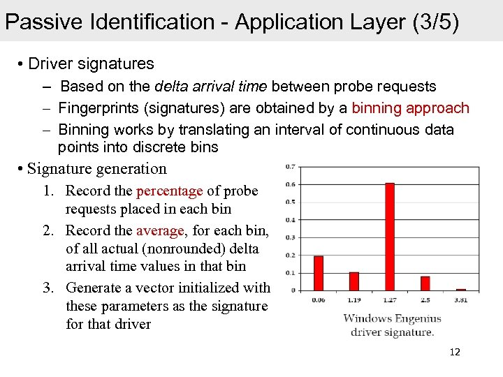 Passive Identification - Application Layer (3/5) • Driver signatures – Based on the delta