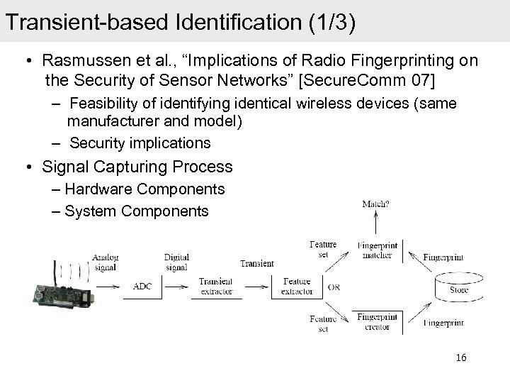 "Transient-based Identification (1/3) • Rasmussen et al. , ""Implications of Radio Fingerprinting on the"