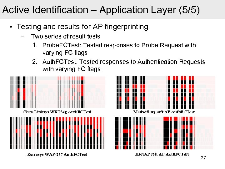 Active Identification – Application Layer (5/5) • Testing and results for AP fingerprinting –