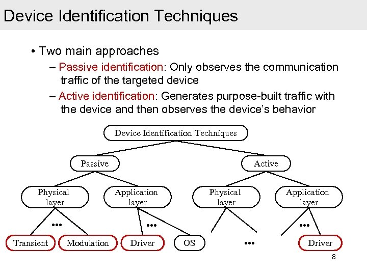 Device Identification Techniques • Two main approaches – Passive identification: Only observes the communication