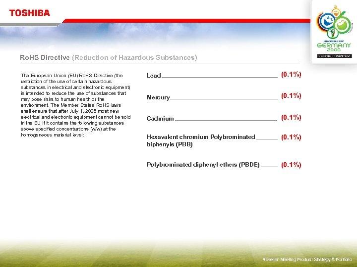 Ro. HS Directive (Reduction of Hazardous Substances) The European Union (EU) Ro. HS Directive