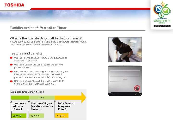 Toshiba Anti-theft Protection Timer What is the Toshiba Anti-theft Protection Timer? Allows users to