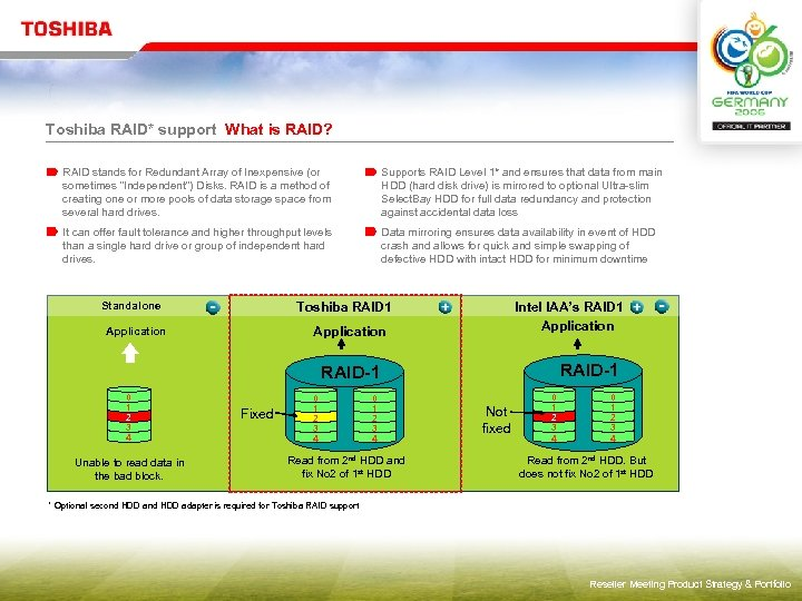 Toshiba RAID* support What is RAID? RAID stands for Redundant Array of Inexpensive (or