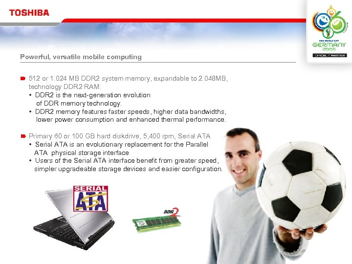 Powerful, versatile mobile computing 512 or 1. 024 MB DDR 2 system memory, expandable