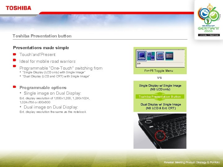 """Toshiba Presentation button Presentations made simple Touch'and'Present Ideal for mobile road warriors Programmable """"One-Touch"""""""