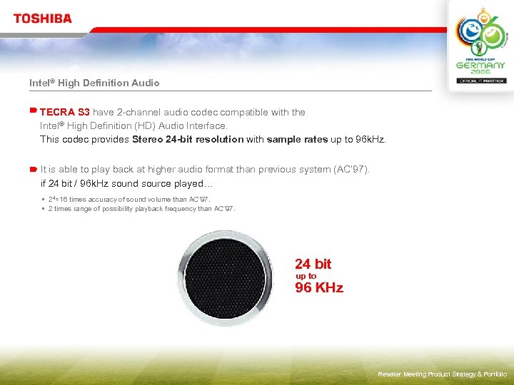 Intel® High Definition Audio TECRA S 3 have 2 -channel audio codec compatible with