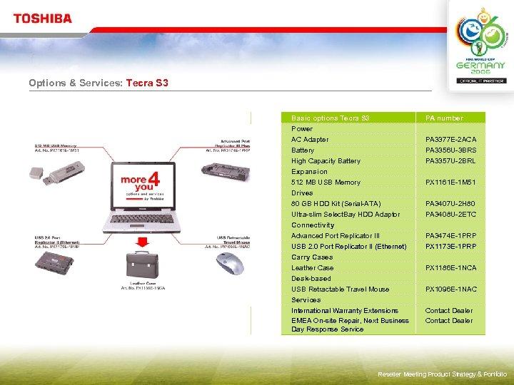 Options & Services: Tecra S 3 Basic options Tecra S 3 Power AC Adapter