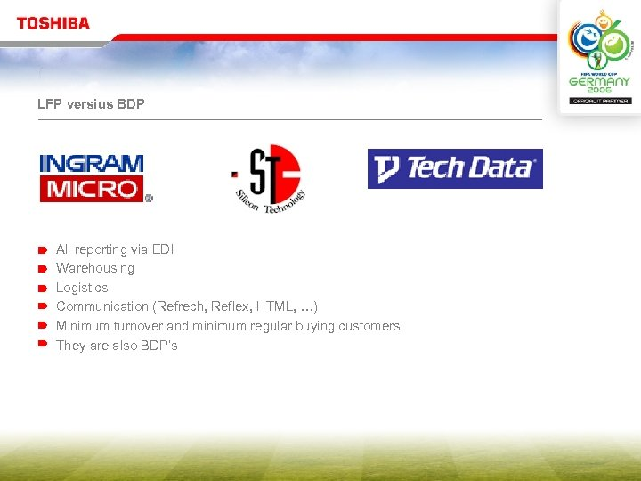 LFP versius BDP All reporting via EDI Warehousing Logistics Communication (Refrech, Reflex, HTML, …)