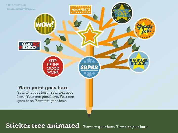 The animation automatically begins. Main point goes here Your text goes here. Sticker tree