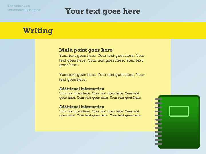 The animation automatically begins. Your text goes here Writing Main point goes here Your