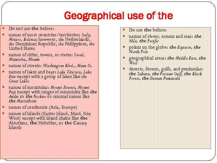 Geographical use of the Do not use the before: names of most countries/territories: Italy,