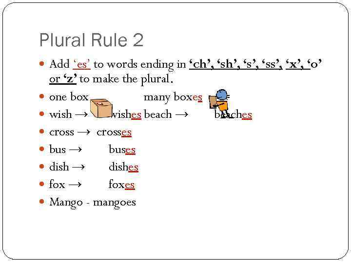 Plural Rule 2 Add 'es' to words ending in 'ch', 's', 'ss', 'x', 'o'