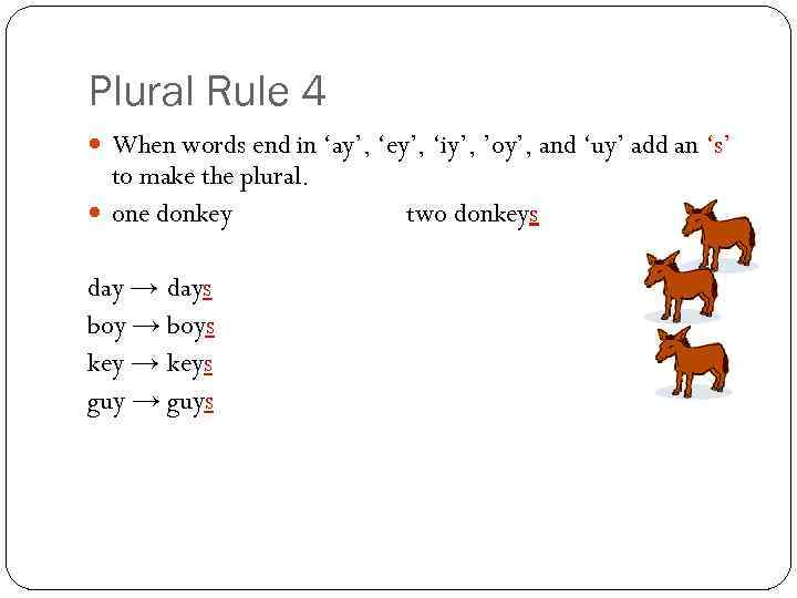 Plural Rule 4 When words end in 'ay', 'ey', 'iy', 'oy', and 'uy' add