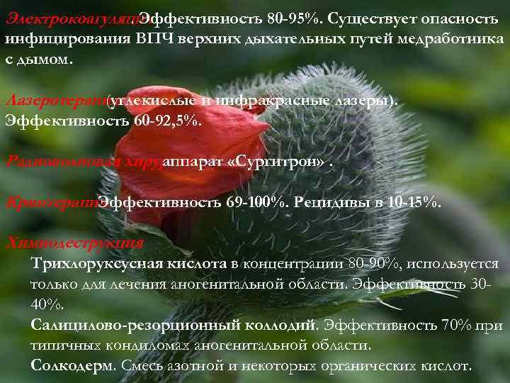 Электрокоагуляция. Эффективность 80 -95%. Существует опасность инфицирования ВПЧ верхних дыхательных путей медработника с дымом.