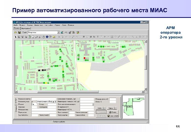 Пример автоматизированного рабочего места МИАС АРМ оператора 2 -го уровня 11
