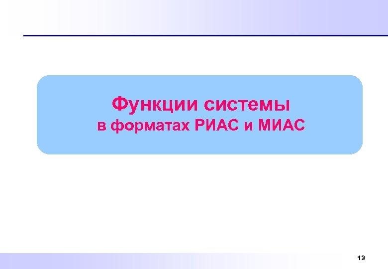 Функции системы в форматах РИАС и МИАС 13