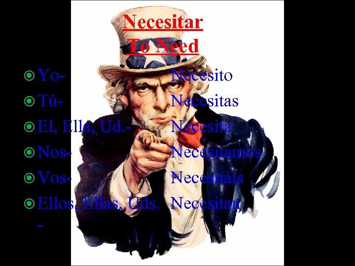 Necesitar To Need Yo- Necesito TúNecesitas El, Ella, Ud. Necesita Nos. Necesitamos Vos. Necesitáis