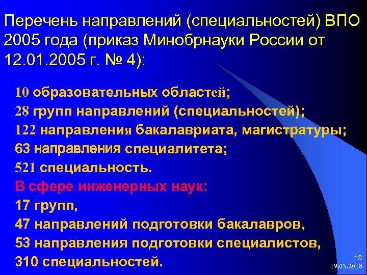 Перечень направлений (специальностей) ВПО 2005 года (приказ Минобрнауки России от 12. 01. 2005 г.