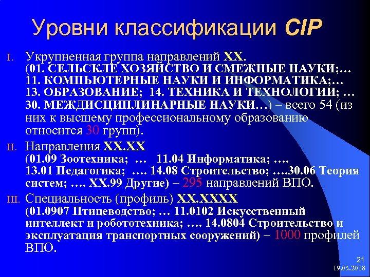 Уровни классификации CIP I. Укрупненная группа направлений ХХ. II. них к высшему профессиональному образованию