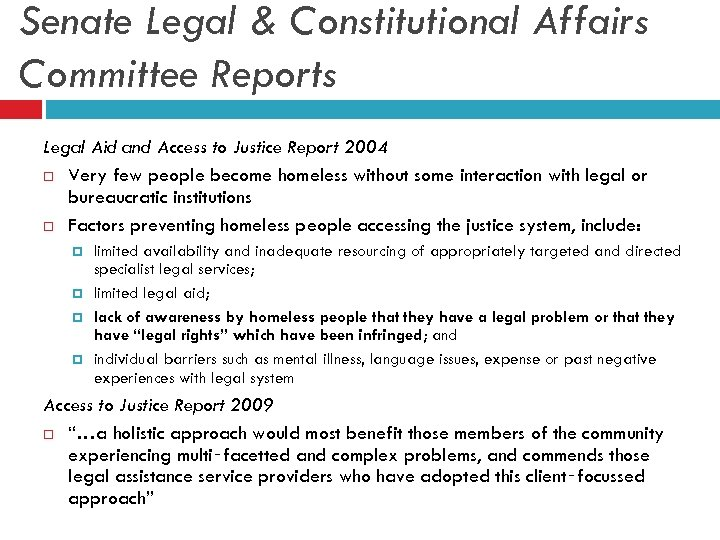 Senate Legal & Constitutional Affairs Committee Reports Legal Aid and Access to Justice Report