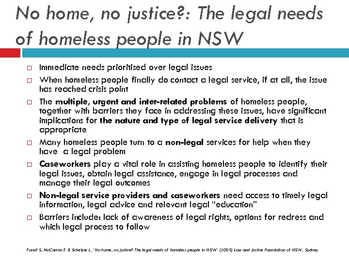 No home, no justice? : The legal needs of homeless people in NSW Immediate