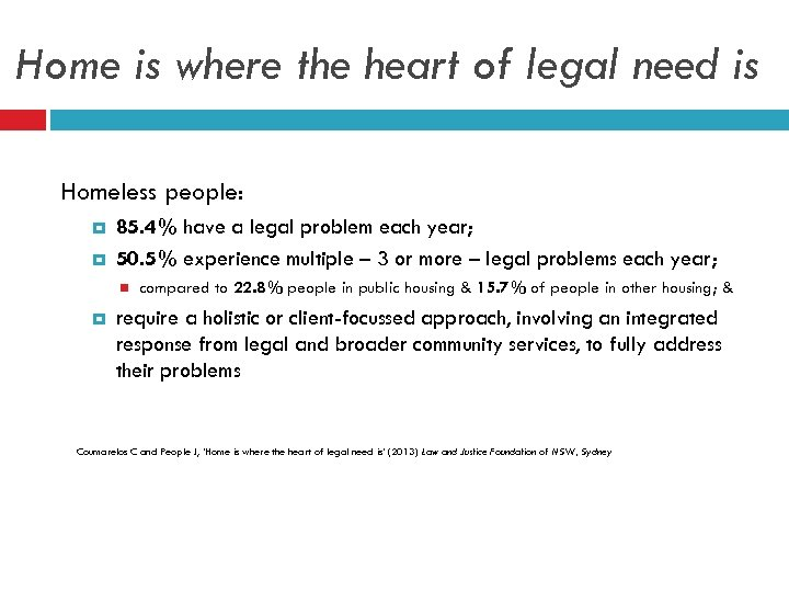 Home is where the heart of legal need is Homeless people: 85. 4% have