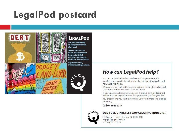 Legal. Pod postcard