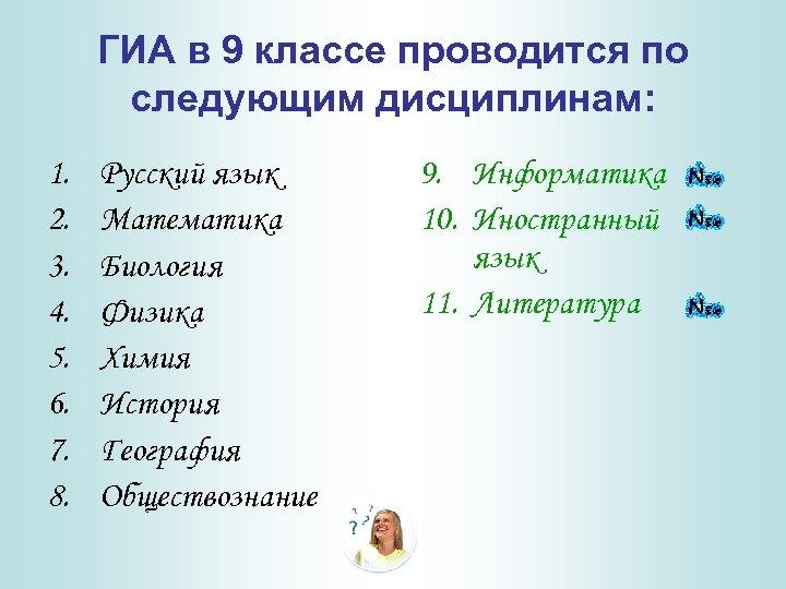 ГИА в 9 классе проводится по следующим дисциплинам: 1. 2. 3. 4. 5. 6.