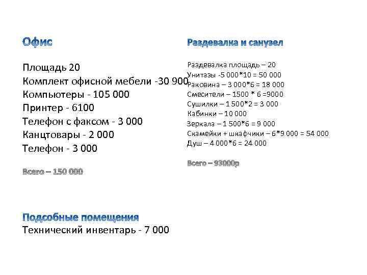 Раздевалка площадь – 20 Площадь 20 Унитазы -5 000*10 = 50 000 Комплект офисной