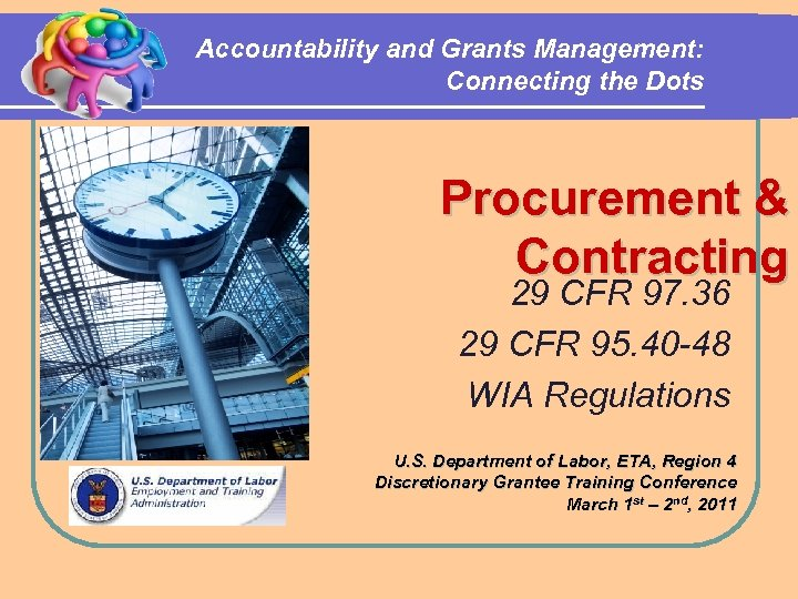 Accountability and Grants Management: Connecting the Dots Procurement & Contracting 29 CFR 97. 36