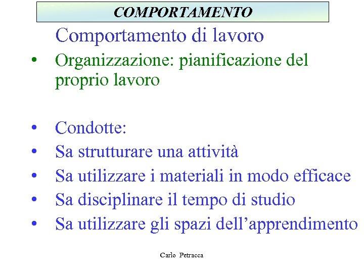 COMPORTAMENTO Comportamento di lavoro • Organizzazione: pianificazione del proprio lavoro • • • Condotte: