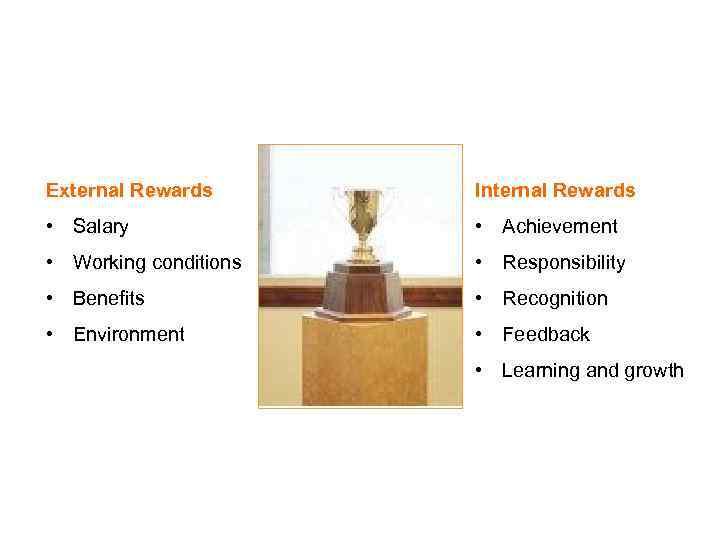WHAT MOTIVATES PEOPLE External Rewards Internal Rewards • Salary • Achievement • Working conditions