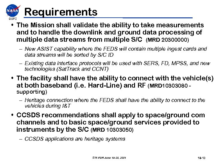 GSFC Requirements • The Mission shall validate the ability to take measurements and to