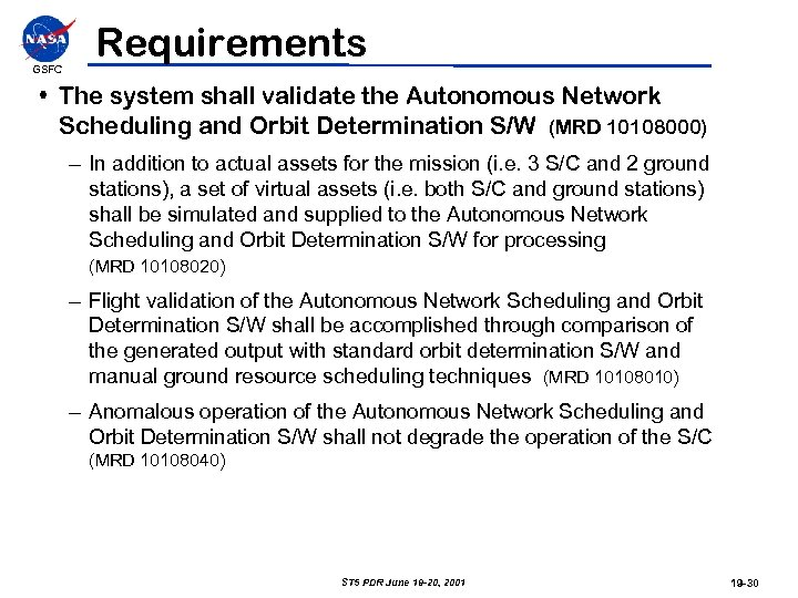 GSFC Requirements • The system shall validate the Autonomous Network Scheduling and Orbit Determination